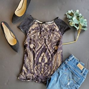Chelsea and Violet Black Lace Overlay Blouse